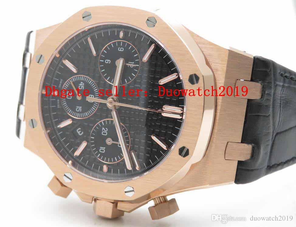 Mens Selling Top Quality 7750 Valjoux Automatic Movement Royal Oak Chronograph 26331ST 41mm Black Checkered Dial 18K Rose Gold Wristwatches