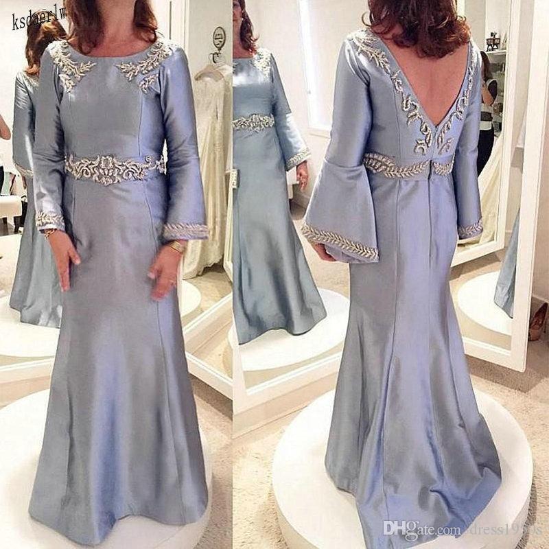 Элегантный серебряный мать невесты платья Саудовская Аравия атласные вечерние платья Длинные рукава Выпускные платья Backless аппликаций шариков