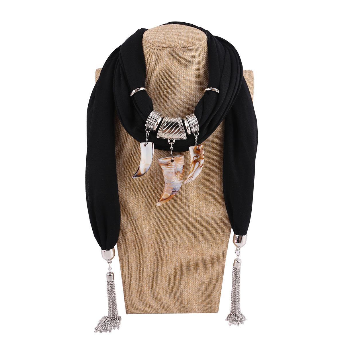 Европейский и американский стиль смола подвеска шарфы 2018 новый модный женский сплав цепочки кисточки этнические простые теплые полиэстер обертывания LSF083