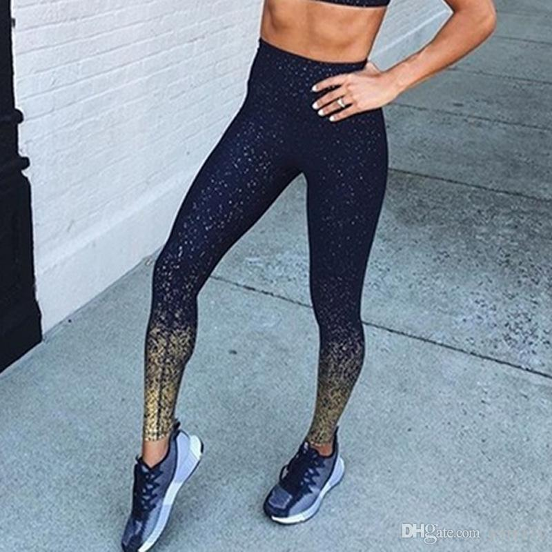 Yoga Printed Slim Fitness Leggings 2019 Women Compression Push Up Leggins Clothing Workout Printing Patchwork Trousers JLE401