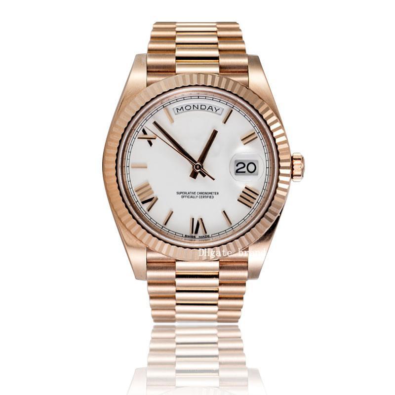 2021 Лавочник Рекомендовать Смотреть роскоши Высокое Качество 228235 40 мм Розовое золото Белый римский циферблат