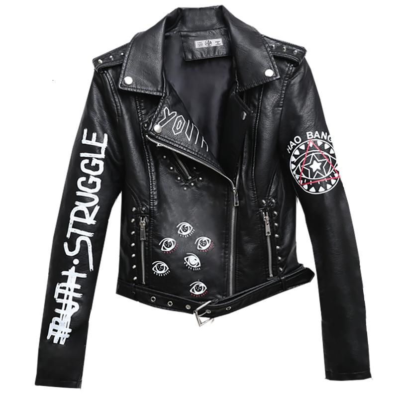 Rivet Kunstleder-Jacke-Rock-Punk-Frauen Moto Mantel Schwarz Cheetah Jacke Zipper Street chaqueta mujer chaqueta charreteras V191022