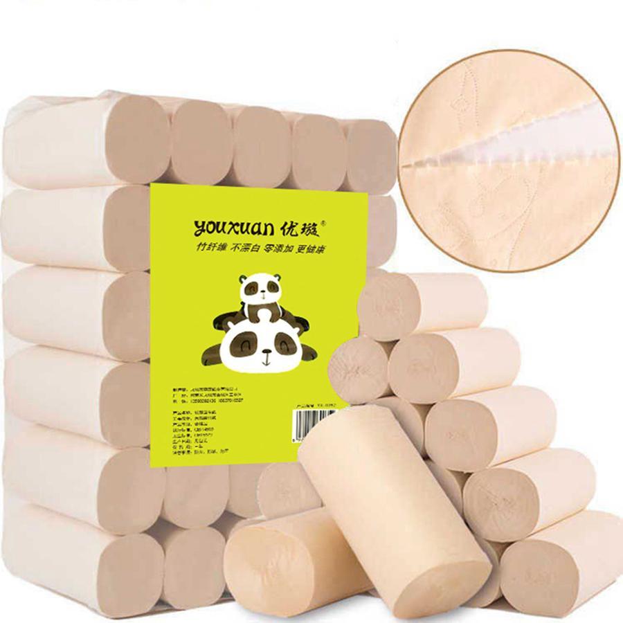 Быстрая доставка бамбук и древесное волокно туалетная бумага натуральный небеленый и без добавления четырехслойной рулонной бумаги повседневные потребности RRA3032