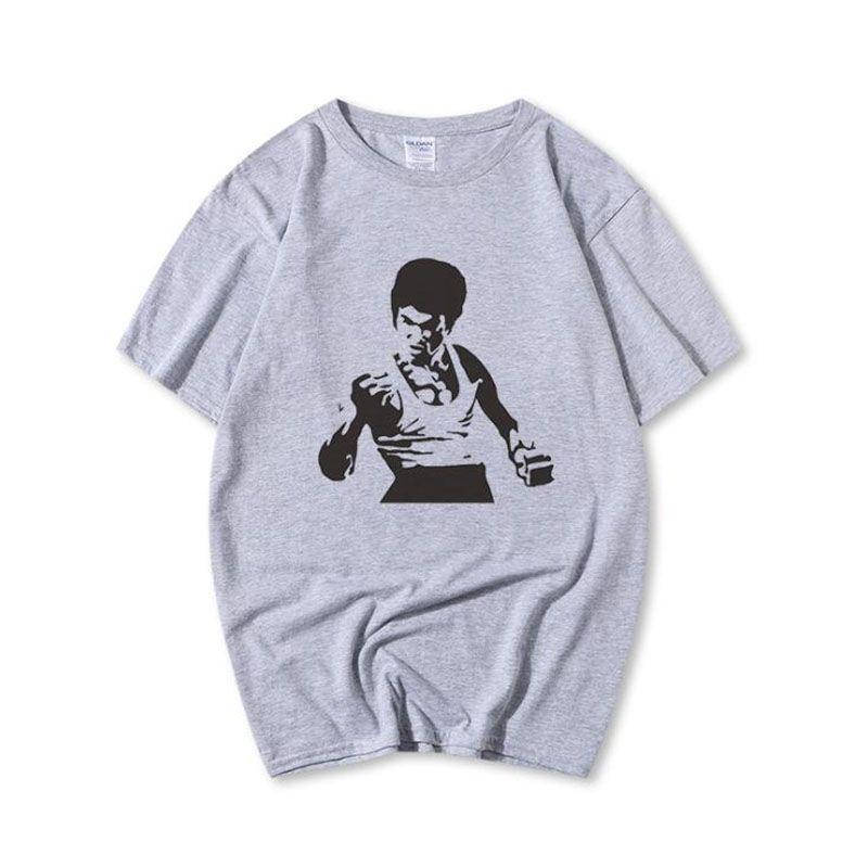 Мода-китайский кунг-фу суперзвезда брюс ли футболка с коротким рукавом мужская летняя мода хипстер брюс ли футболка с принтом для мужчин