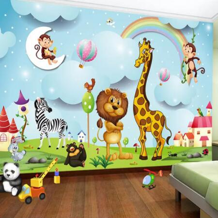 Custom Wall Murals 3D Cartoon Animal Photo Wallpaper Boys And Girls  Children\'S Bedroom Background Wall Painting Kid\'S Paper Cars Wallpapers  Cartoon ...
