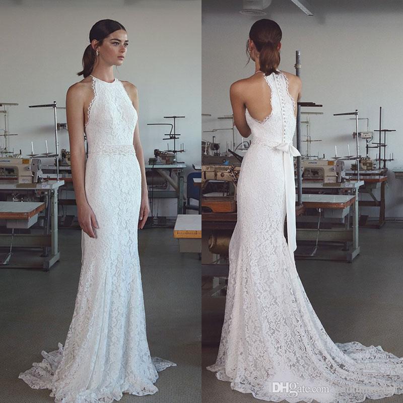 2020 Lihi Hod Bohemian Lace Vestidos de novia Halter Cuello Sirena Playa Vestido de novia Botones Back Sweep Train Boho Boho Vestidos de novia