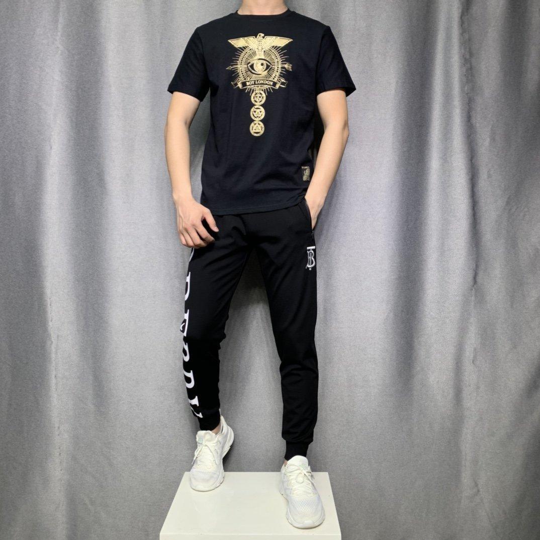 2020 hochwertige Männer Kurzarm Sommer Art und Weise T-Shirt beiläufige bequeme Rundhals T-Shirt Art und Weise clothing5L3U