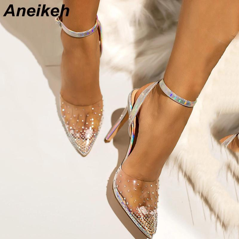 Aneikeh PVC strass Scarpe Donna estremità appuntita Tacchi alti Abito da sposa sandali Summer Party Scarpe dell'inarcamento della caviglia Sandali Pompe