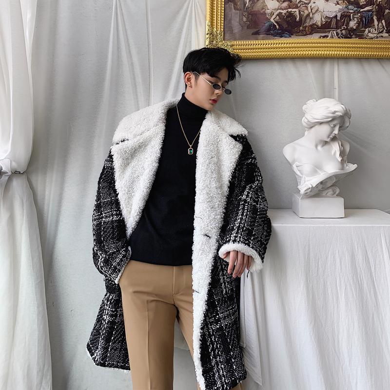 Nova moda inverno meados de comprimento, mais jaqueta de veludo jaqueta dos homens da tendência casaco de pele de carneiro dos homens personalidade lapela