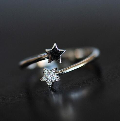 prata esterlina Atacado jóias de prata esterlina s925 anel aberto ring171 estrela diamante
