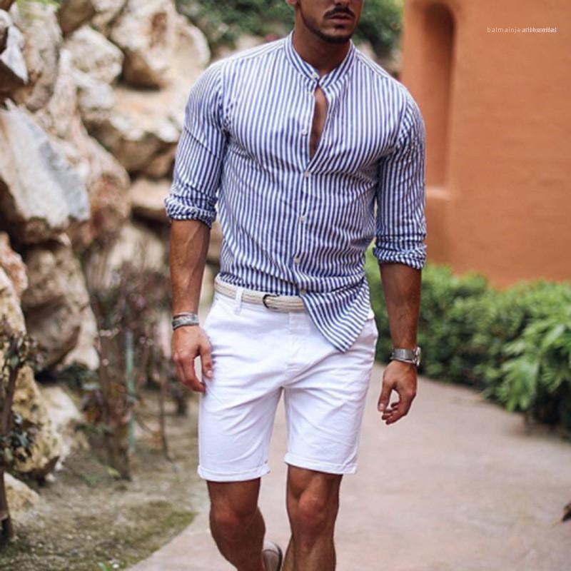 De diseño a rayas para hombre adelgazan las camisas de la solapa del cuello de manga larga camisas de los hombres de moda casual Impreso hombre camiseta
