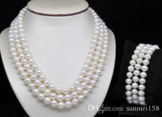 Mulheres nobres presente Fecho de Prata dupla vertente Natural Triplo Strand 7-8mm Branco pérola Conjunto necklaces braceletes