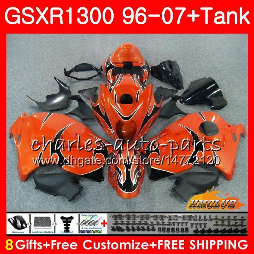 Zestaw do SUZUKI GSXR-1300 GSXR1300 Hayabusa 96 97 98 pomarańczowy płomienie 99 00 01 07 24.43 GSXR 1300 1996 1997 1998 1999 2000 2001 2007 2007