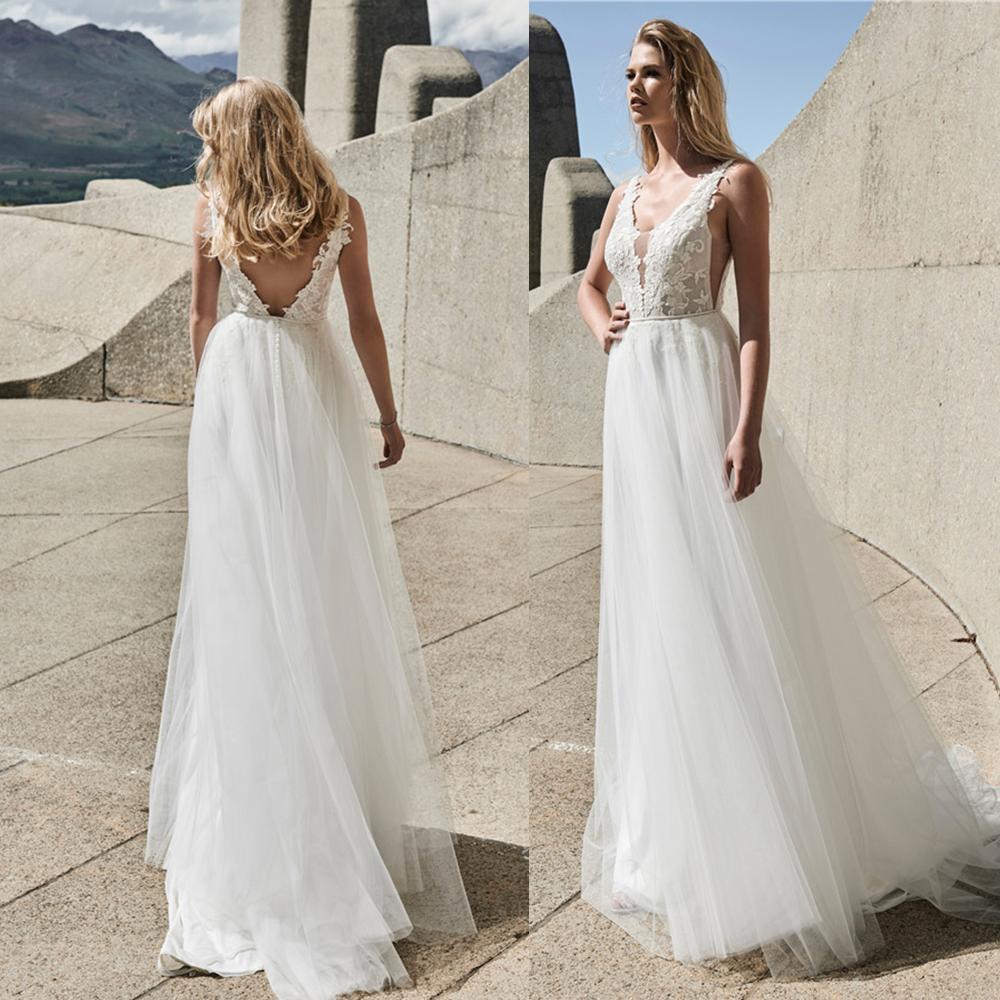 Elbeth Gillis 2021 Wedding Dresses V Neck Lace apliques Praia vestidos de noiva Custom Made Backless varredura Train A Linha Robe De Soiree
