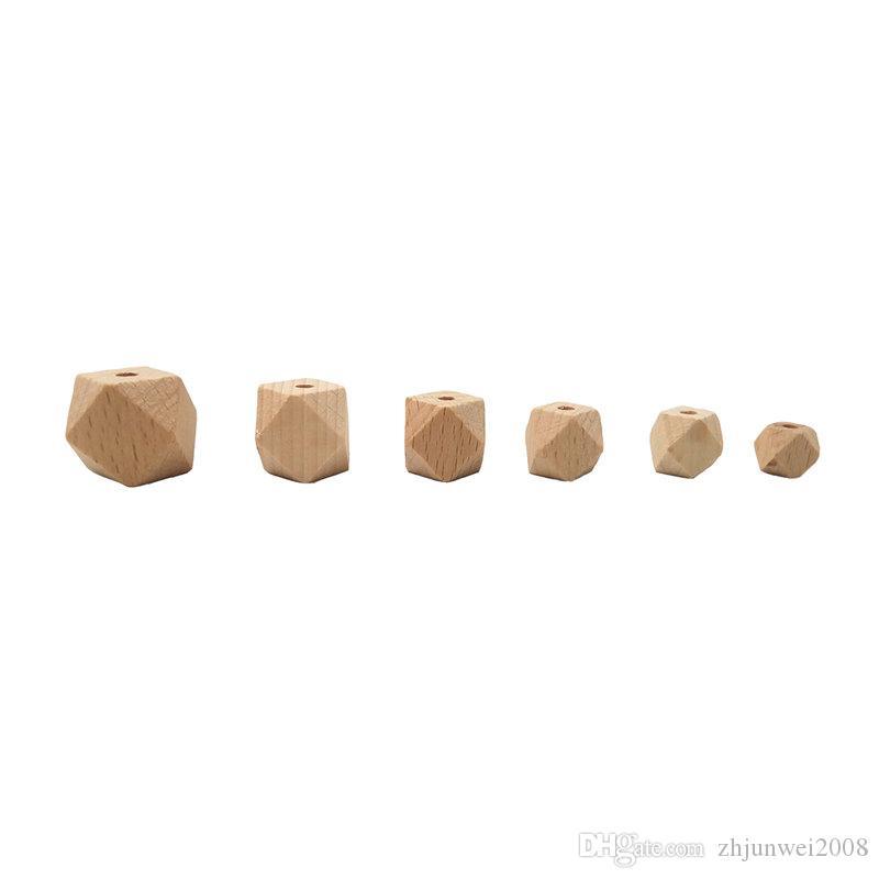 10-20mm Natural 6 Sizes Beech Wooden Hexagon Beads