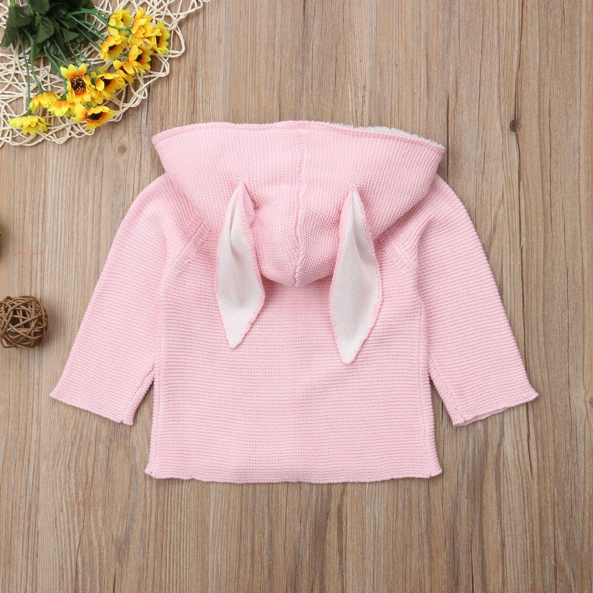 Carino Neonato Bambino Bambini neonate Boy maniche lunghe maglia maglione 3D dell'orecchio di coniglio con cappuccio Cardigan Coat Outerwear
