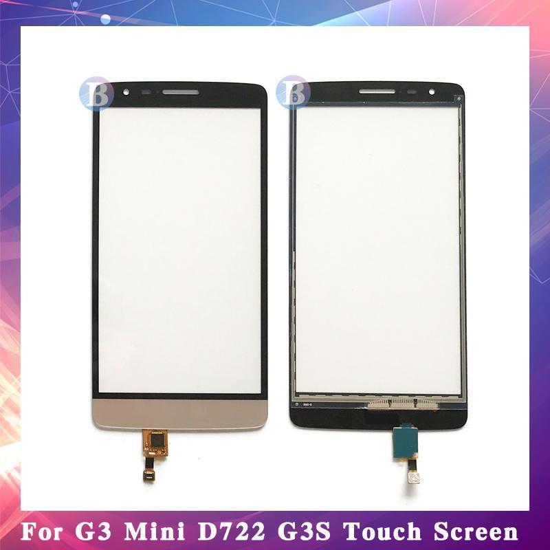"""10 قطعة / الوحدة جودة عالية 5.0 """"ل lg g3 البسيطة D722 G3S لمس الشاشة محول الأرقام الاستشعار الخارجي زجاج عدسة لوحة أسود أبيض الذهب"""