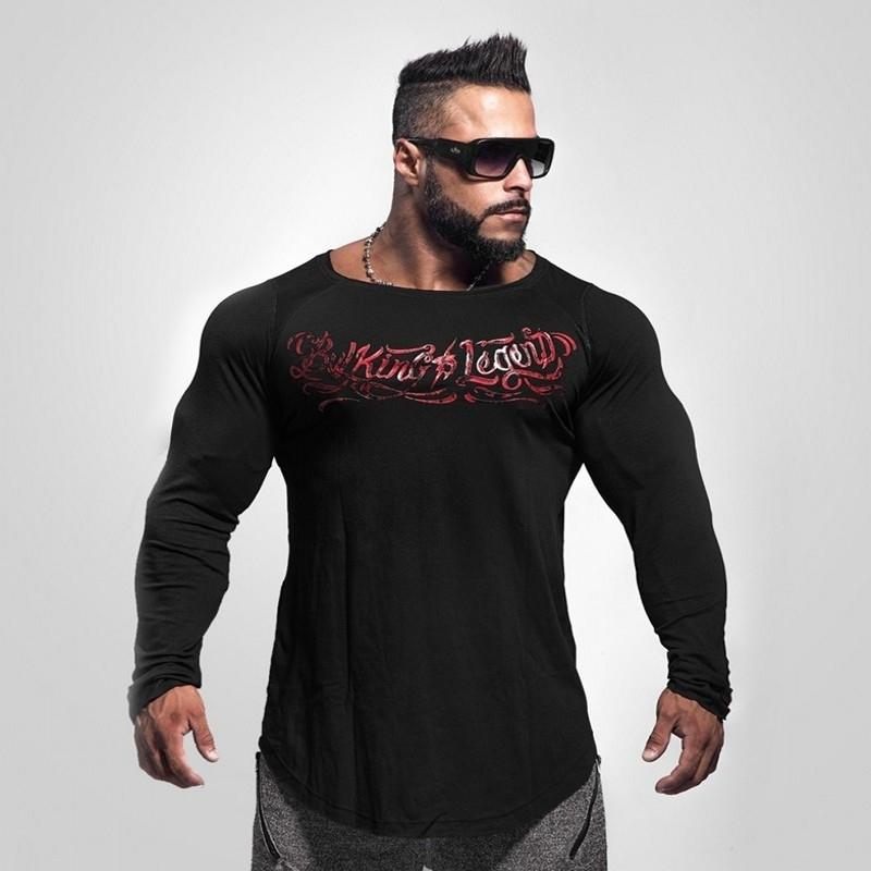 New Men Long Sleeve Cotton T-shirt Autumn Winter Casual Fashion Gyms Fitness Bodybuilding T Shirt Male Slim Tees Tops Clothing SH190824