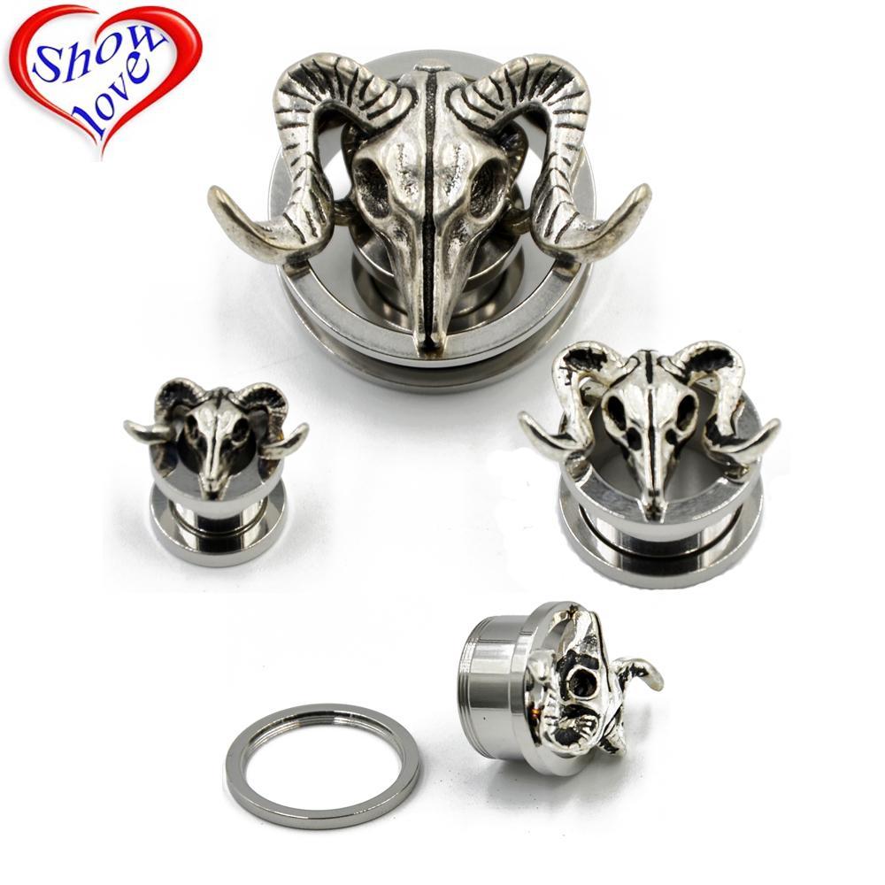 Showlove-2PC aço inoxidável antigo tribal orelha de prata Sheepshead bujão Tunnel Ear Expander Body Piercing Jewelry