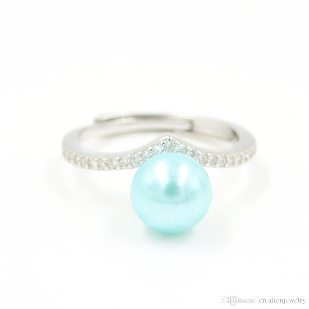 Moda diamante V Sterling prata diamante feminino anel monta aberta tamanho da boca ajustável flor s925 diy anel de jóias anel de casamento jzt016