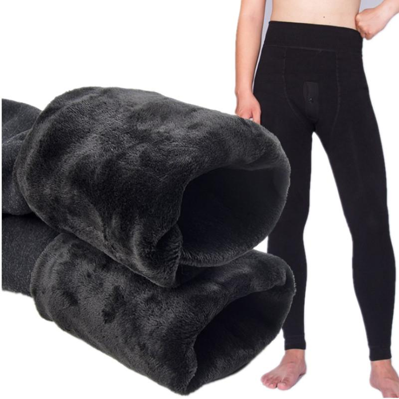 2019 Winter Warm Men Long Johns Thick Velvet Thermal Underwear Man Elastic High Waist Leggings Underpants pantalon termico Black SH190927