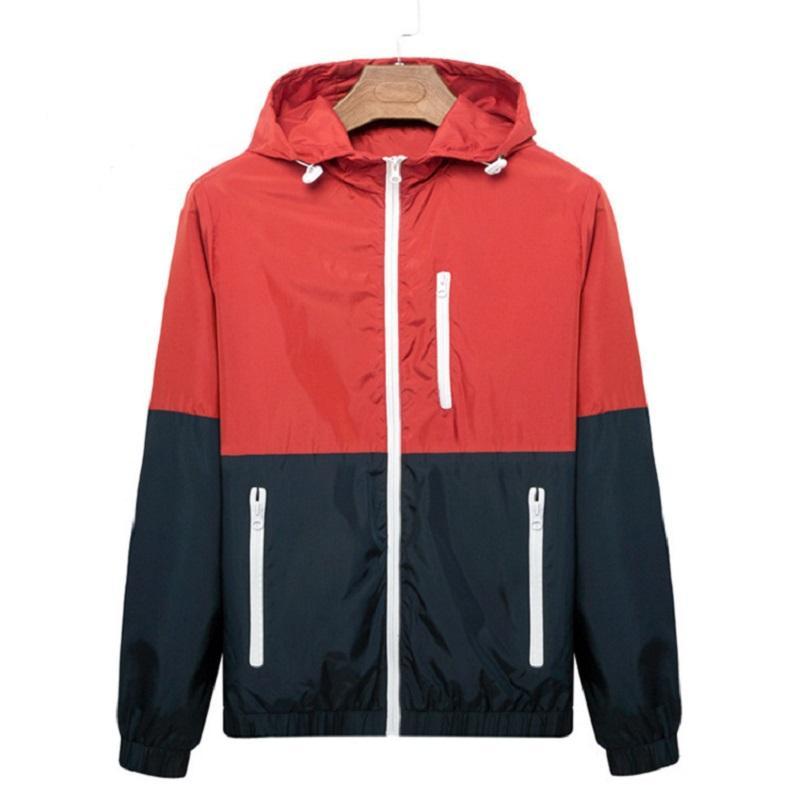 남성 캐주얼 봄 가을 재킷 새로운 대비 컬러 지퍼 자켓