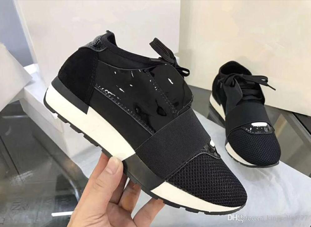 2019 Sıcak Moda Klasik Sivri Burun Yarışı Runner Rahat Ayakkabı Adam Kadın Eğitmen Ayakkabı Düz Düşük Kesim Lace Up Nefes Örgü Sneaker Boyutu 34-47