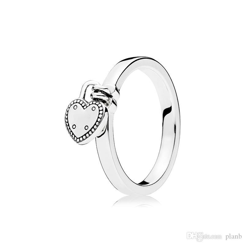 925 Sterling Silver Heart Colgante Anillos de boda Caja original para Pandora Anillo de anillo de candado en forma de corazón Mujeres Conjunto de anillos de diseño de lujo