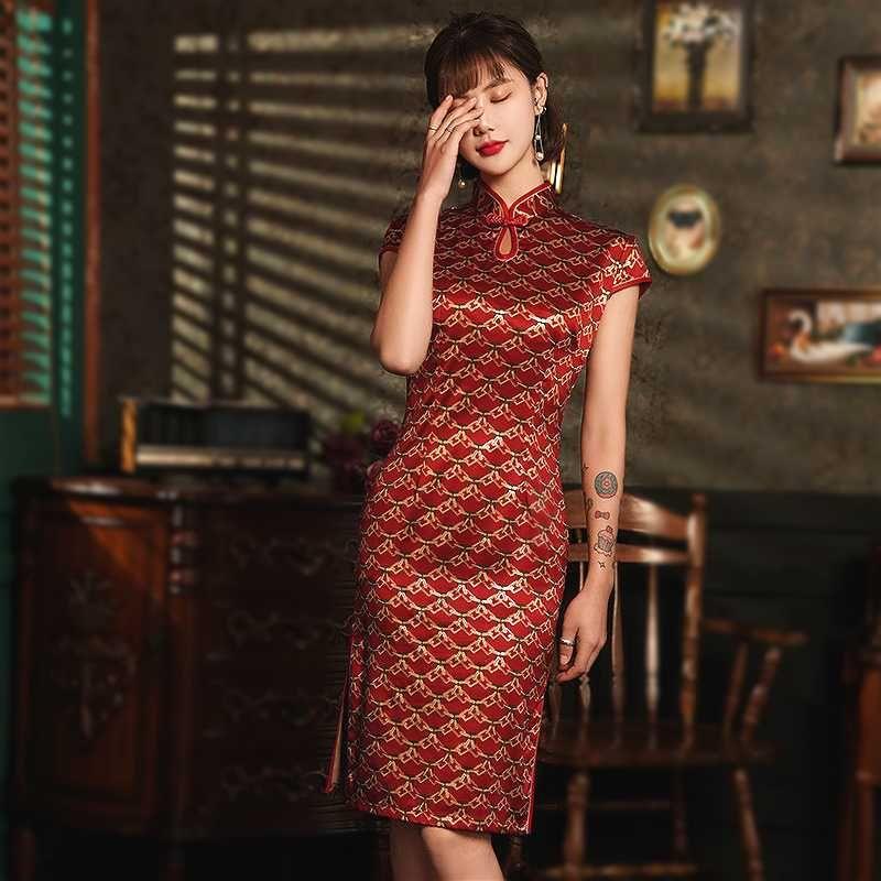 Шэн Коко дамы Шелковый Cheongsam платья Новый стиль Тонкий Банкет платье китайский Vintage Капельки воды Воротник 4XL Улучшенное платье