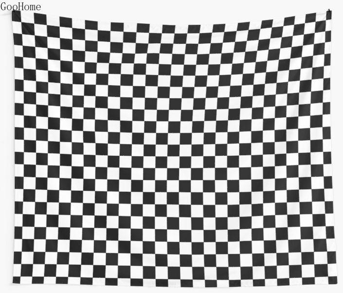 Checkered preto e branco TAPETE DE PAREDE tampa da praia Lance Toalha Blanket Picnic Yoga Mat Decoração
