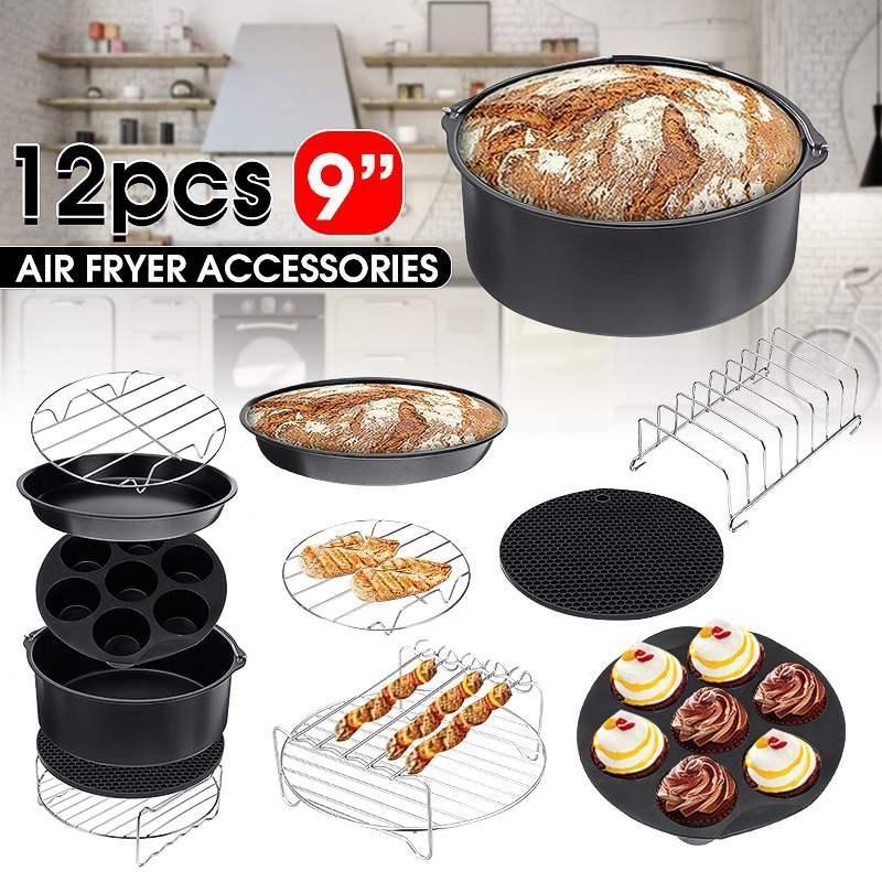 12pcs Accessoires Fryer Air 9 pouces pour Airfryer Fit 5.2-6.8QT cuisson Panier Pizza Grill Plaque de cuisson Pot de cuisine Outil Party