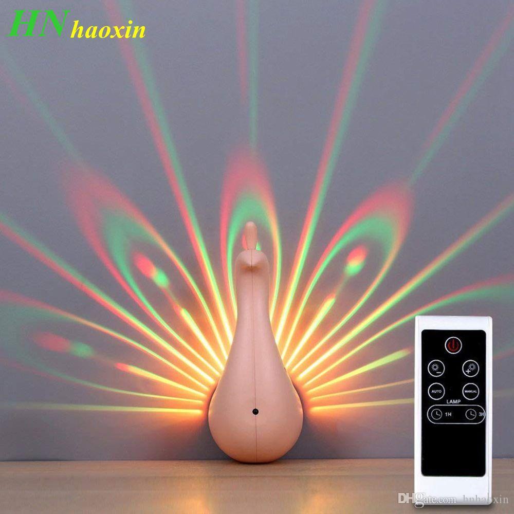 HaoXin LED Applique Murale Paon Projection Lampe Télécommande Maison Decro Ambiance Romantique Coloré Couloirs Arrière-Plan Veilleuse