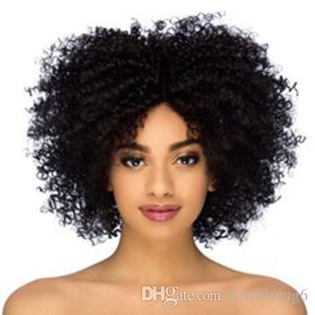 hot femmes de la courte Crépus Bouclés Perruques Cheveux brésiliens Africain Ameri coupe courte Crépus Bouclés Perruque Simulation de cheveux humains bouclés perruque en stock
