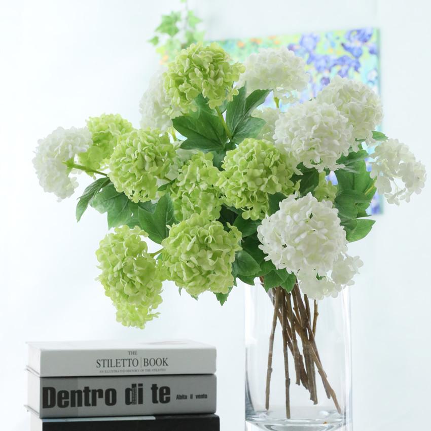 2 têtes Artificielle Boule D'Hortensia Fleurs Blanche Boule De Neige Flores Home Party De Mariage Décor De Noël Décorations D'automne Faux Fleur