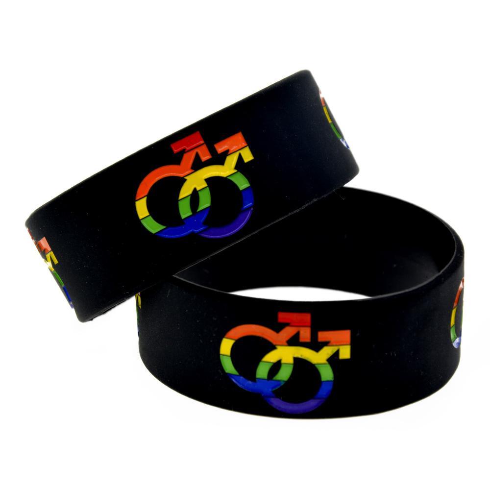 Moda Gökkuşağı Gay Sembol Gurur Yumuşak Silikon Kauçuk Bileklik El Srap Renkli Logo 1inch Geniş Kol Bandı Bagle Bilezikler