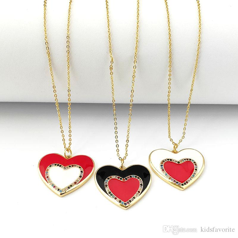 High Quality Heart shaped Enamel Charm Pendant,Cubic Zirconia CZ Micro Pave Necklace Fashion Girl jewelry NK474