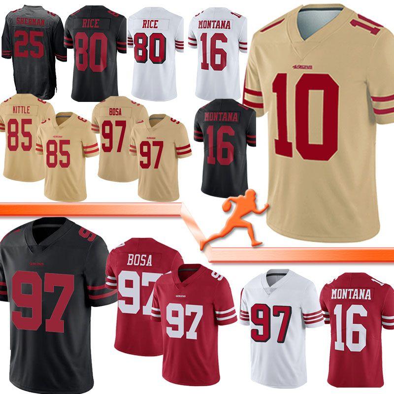 (10) Jimmy Garopolo San Francisco Jerseys 49er 85 George Kittle 80 Jerry Rice McGlinchey 16 Joe Montana 97 Bosa 2020 new