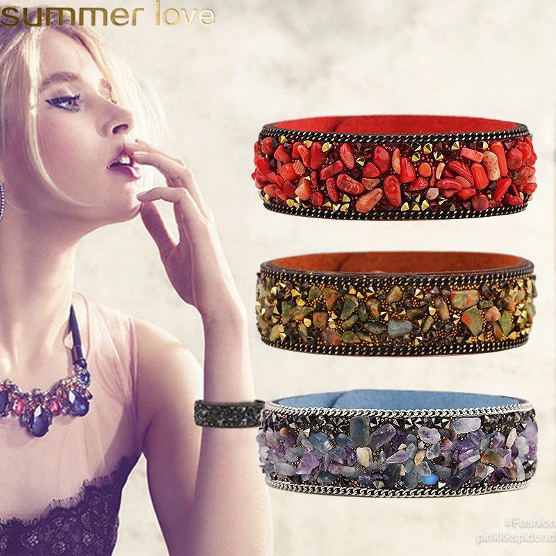 Fashion Gemstone Crystal Leather Bracelet Women Vintage Wrap Cuff Bangle Wristband Bracelet Summer Jewelry