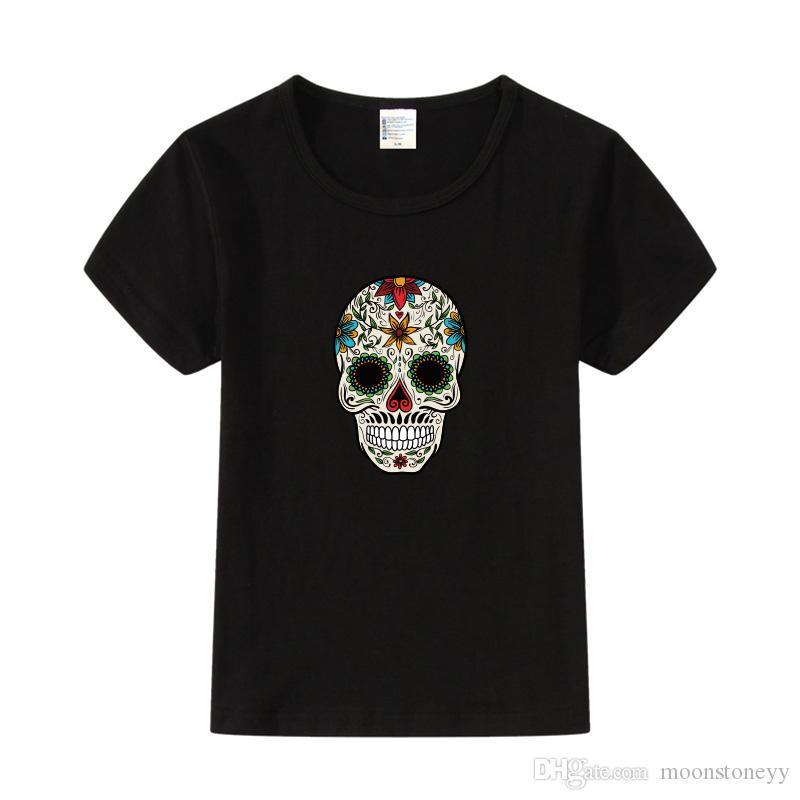 Flower Cool Skull Print 키즈 T 셔츠 캐주얼 여름 코튼 탑 Tee for Boys Girls Hipster 힙합 의류