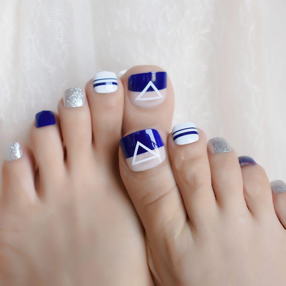 Fashion Design Natural Blue False Toenail Tips Set Glitter French Full Cover Fake Toe Nail Manicure Decoration Nails Gel Acrylic Nail From Burnell 26 05 Dhgate Com