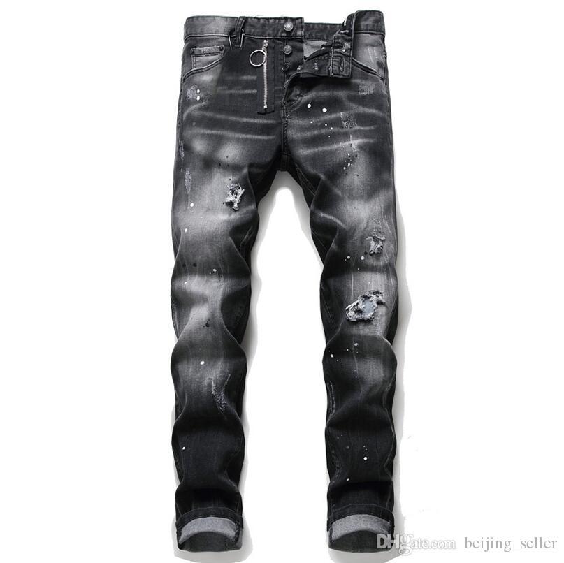 رجل المتعثرة مزقت الإمتداد الأسود جينز أزياء صالح سليم غسلها موتوكيكلي سروال جينز نصب منصة بنطلون الهيب هوب 1056