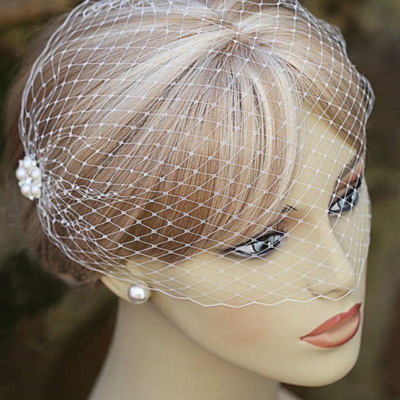 Retro style white pearl buckle wedding veil half-covered bride bird cage veil cathedral wedding veil wedding accessories