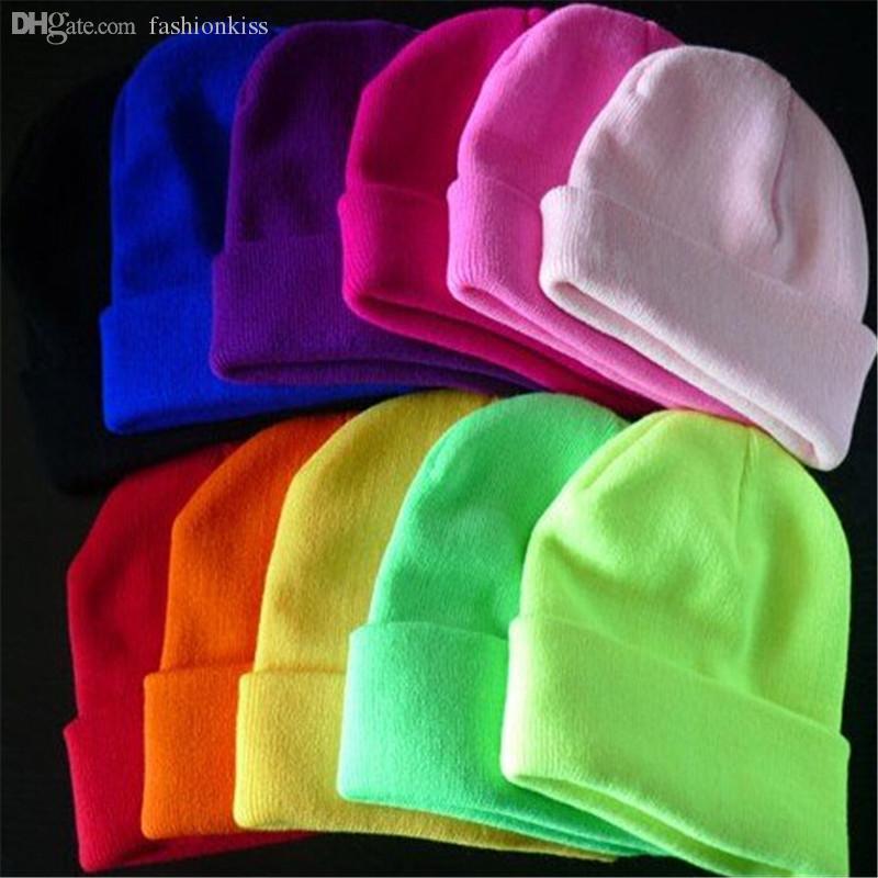Wholesale-Free Shipping Hot Sale 2015 Fashion Knitted Neon Women Beanie Girls Autumn Casual Cap Women's Warm Winter Hats Unisex