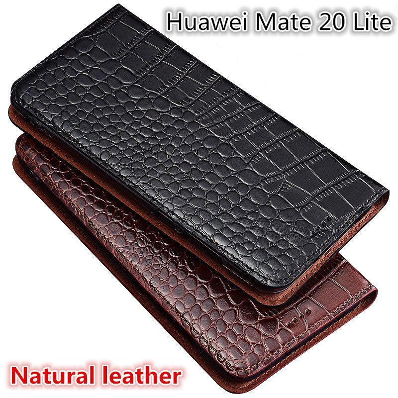 Qx02 couro genuíno da aleta para huawei mate 20 lite phone case para huawei mate 20 lite saco do telefone com suporte coque