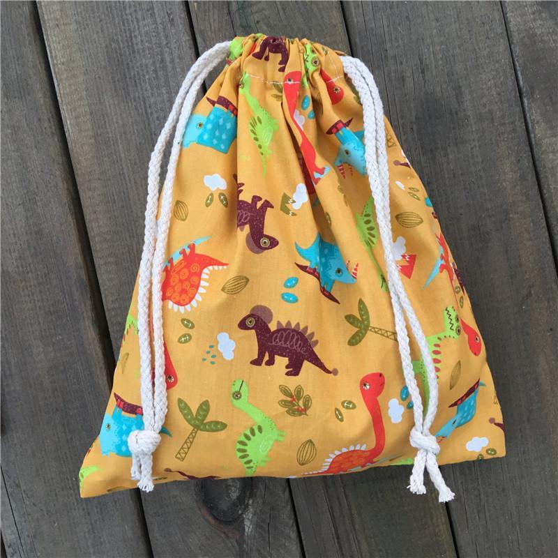 Gift Bag Yile 1pc cotone con coulisse Pouch Bag festa a casa di stampa Colore Dinosauro Azzurro YL03