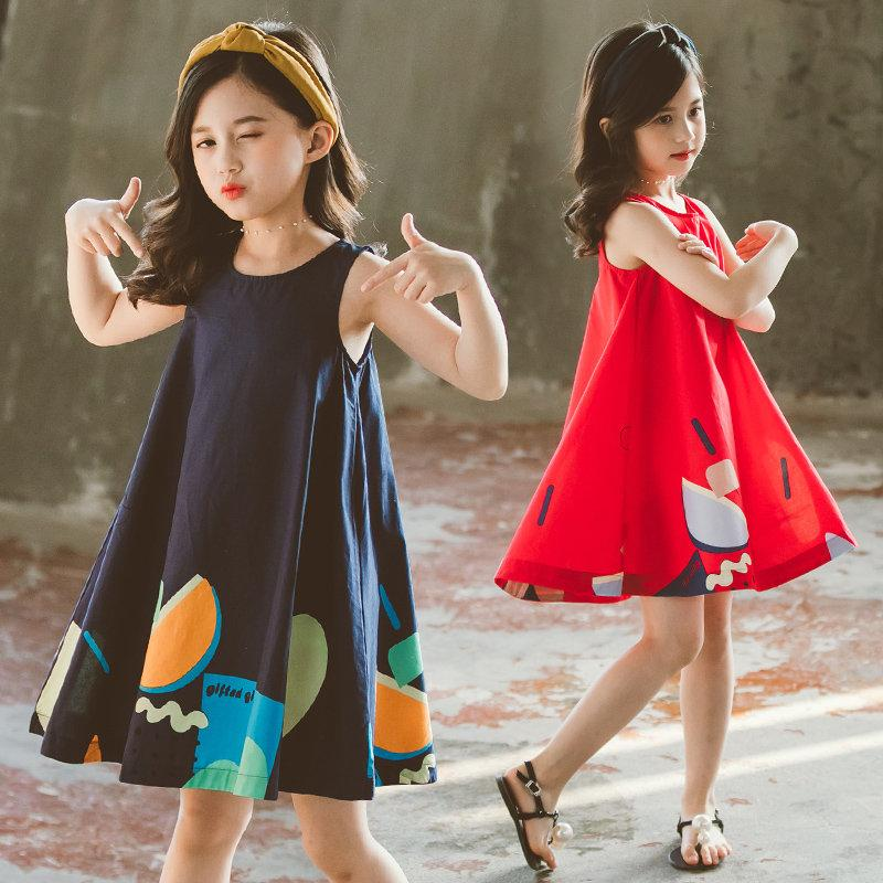 Enfants Robe Enfants New Summer Sans Manches Vêtements Filles Impression De Dessin Animé Princesse Genou-Longueur Robe Enfants Vêtements Pour Robes De Soirée