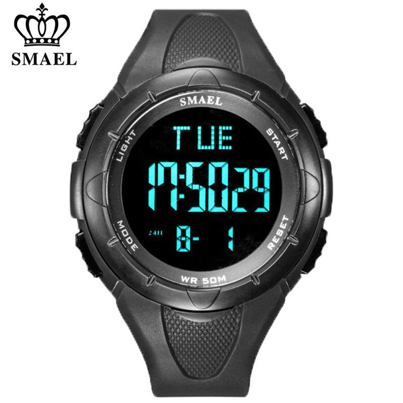 SMAEL Neue Multifunktions-Uhr Military Outdoor-Herren LED Digital Display Silikon wasserdicht Sport-Uhr-Mann-Armbanduhr Multifunktions-Uhr