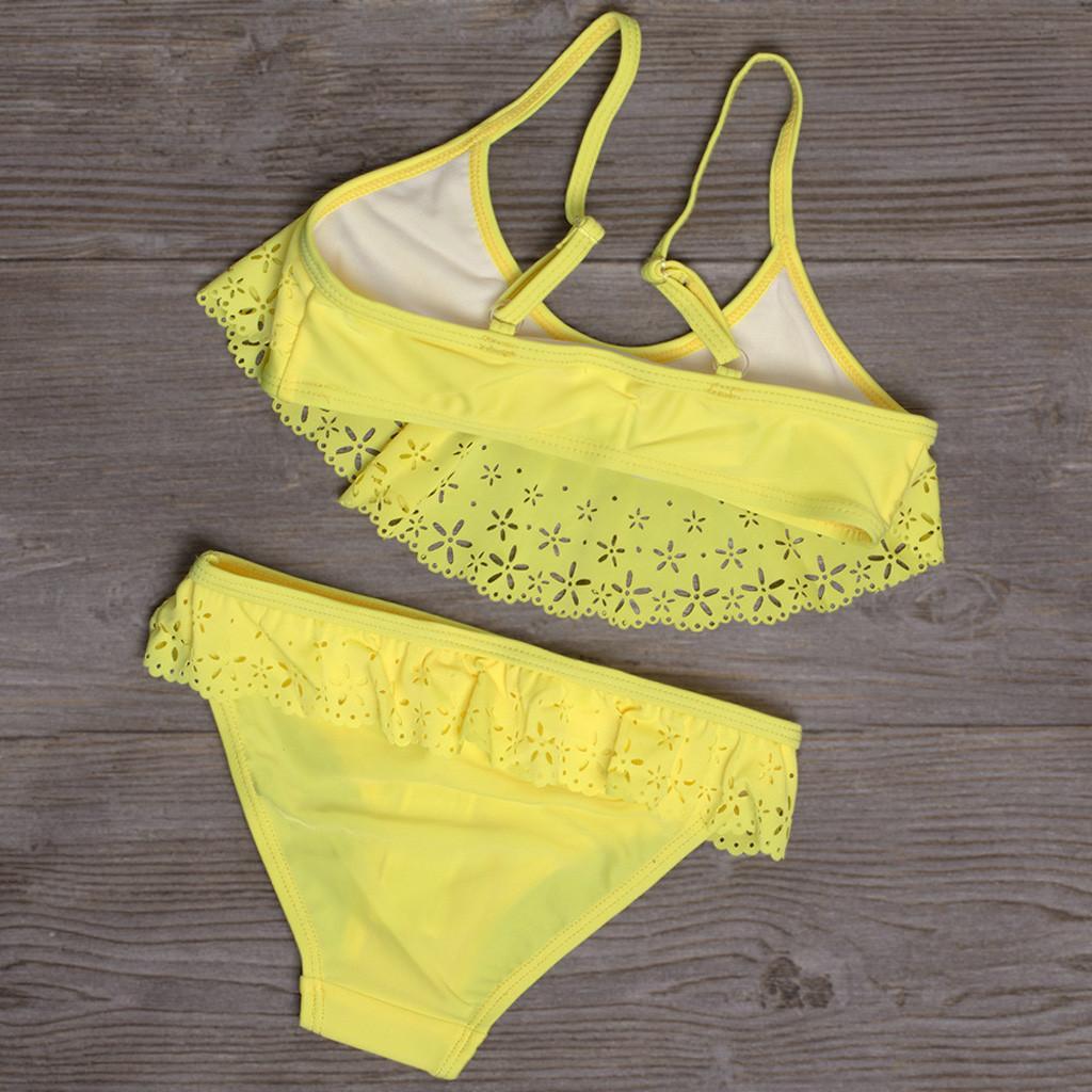 Kind-Mädchen-Bikini-Satz-Strand-Badeanzug + Shorts Bademode Set Rüschen Leibchen Badebekleidung für Mädchen 5-14 Jahre alt MA6
