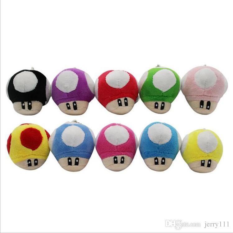 6 CM Super Mario Bros Luigi Yoshi Sapo Cogumelo Cogumelos de pelúcia Chaveiro Anime Figuras de Ação Brinquedos para crianças presentes DHL FJ326