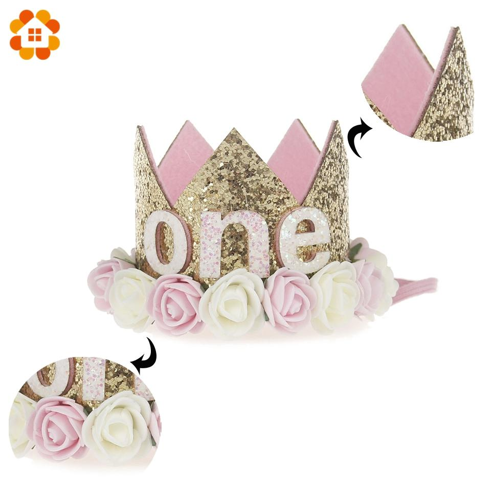 1PC Bebek Kız Erkek Doğum Parti Şapkası I Am One Caps İlk Doğum Günü Prenses Kraliçe Taç Parti Süsleri Kafa Çocuk Şekeri